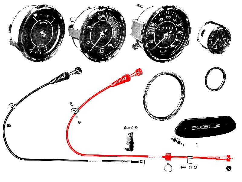 speedometer cable 64474111100 - genuine porsche